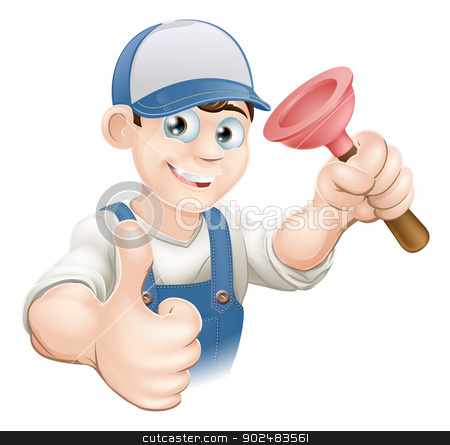 Cartoon plunger man stock vector clipart, Cartoon of a man in work gear giving a thumbs up and holding a plunger. Perhaps a plumber. by Christos Georghiou