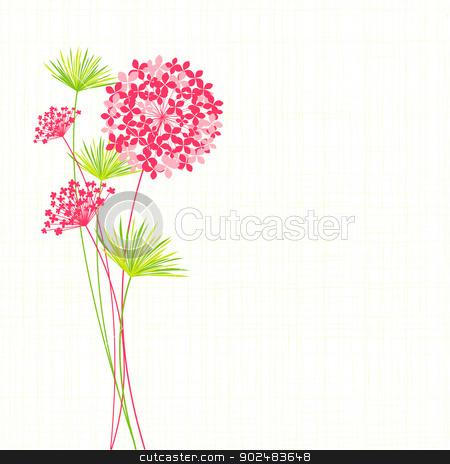 Springtime Hydrangea Flower Background stock vector clipart, Springtime Hydrangea Flower on Green Background by meikis