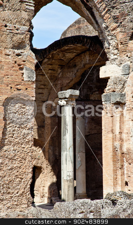 Roman columns stock photo, Roman columns in Villa Adriana, Tivoli, Italy by Paolo Gallo