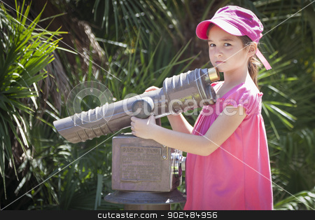 Young Child Girl Portrait Outside stock photo, Pretty Young Child Girl Portrait Outside Next to Telescope. by Andy Dean