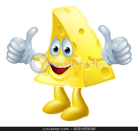 Happy cartoon cheese man stock vector clipart, A drawing of a happy cartoon cheese man giving a double thumbs up by Christos Georghiou