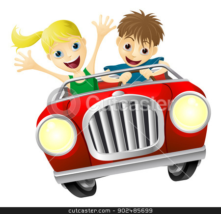Cartoon man and woman in car stock vector clipart, Cartoon young man and woman having fun driving a red convertible car by Christos Georghiou