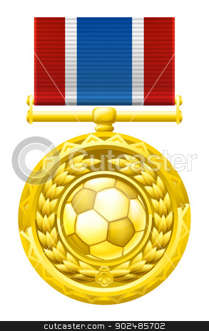 Soccer football medal stock vector clipart, A gold winners medal with a laurel wreath and soccer football ball illustration. by Christos Georghiou