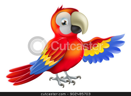 Red pointing cartoon parrot stock vector clipart, A red macaw parrot pointing or showing something with his wing by Christos Georghiou
