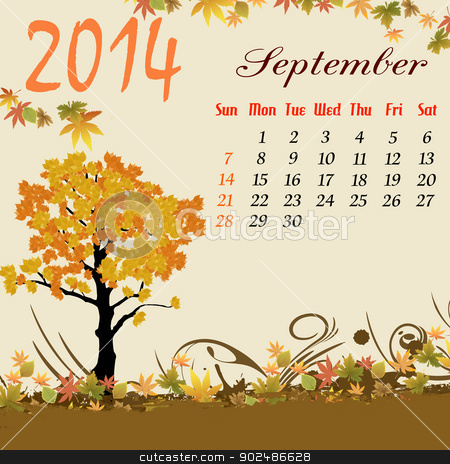 Calendar for 2014 September stock vector clipart, Calendar for 2014 September with autumn tree and leaves, vector illustration by radubalint