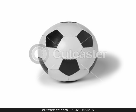 Soccer ball stock photo, Soccer ball of leather easy isolated on white background. by ABBPhoto