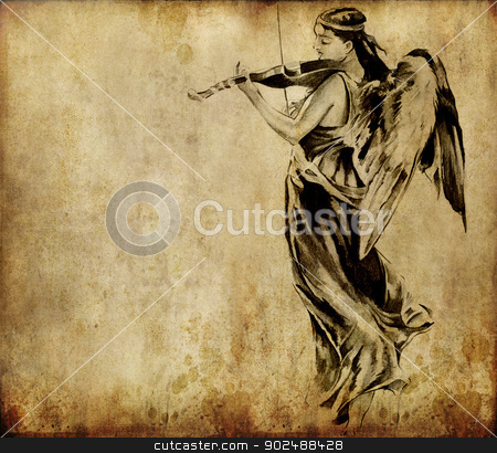 Tattoo art, sketch of an angel over vintage background stock photo, Tattoo art, sketch of an angel over vintage background by Fernando Cortes