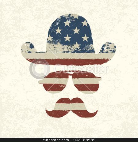 Grunge american flag themed retro fun elements. Vector, EPS10 stock vector clipart, Grunge american flag themed retro fun elements. Vector, EPS10 by pashabo