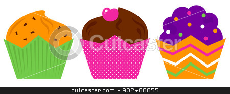 Birthday Muffin set isolated on white stock vector clipart, Cute colorful Muffin set. Vector cartoon Illustration by BEEANDGLOW
