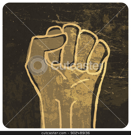 Fist illustration. With grunge texture, vector stock vector clipart, Fist illustration. With grunge texture, vector by pashabo