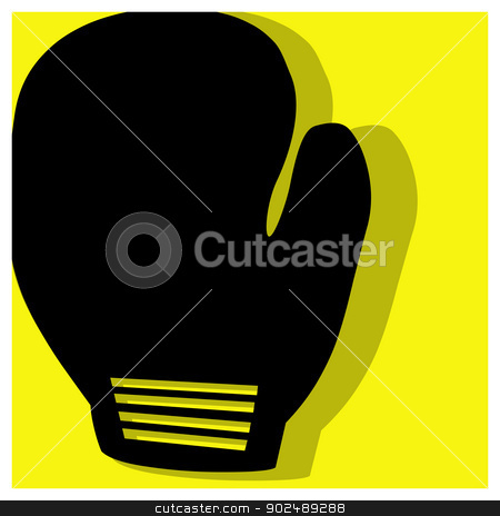 boxing pictogram stock vector clipart, boxing vector pictogram yellow black by shufu