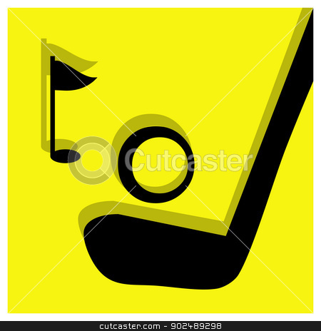 golf pictogram stock vector clipart, golf vector pictogram yellow black by shufu