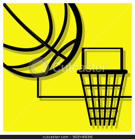 basketball pictogram stock vector clipart, basketball vector pictogram yellow black by shufu