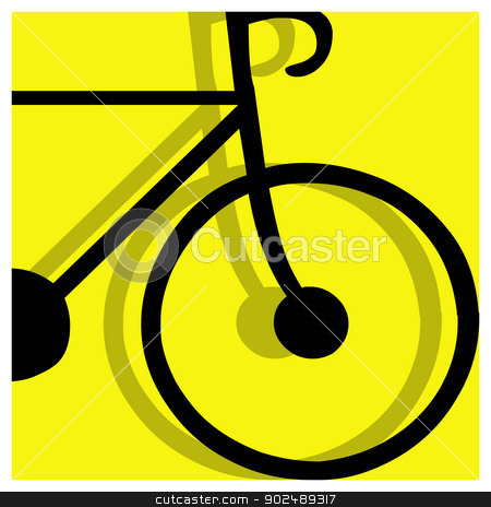 bicycling pictogram stock vector clipart, bicycling vector pictogram yellow black by shufu