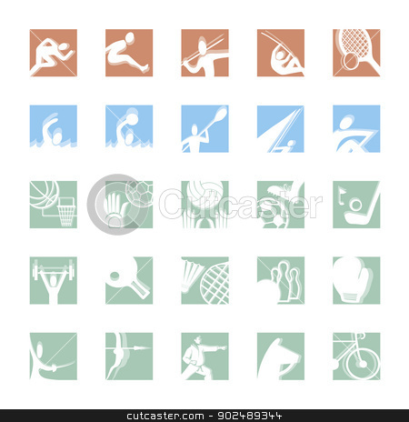 sport icon set color stock vector clipart, sport icon set illustrated vector pictograms in color by shufu
