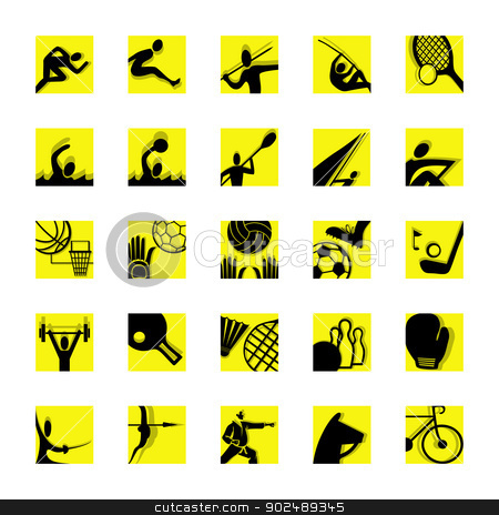 sport icon set black and yellow stock vector clipart, sport icon set illustrated pictograms black and yellow by shufu