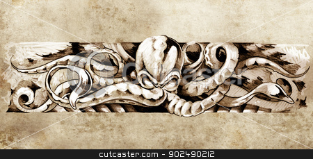 Sketch of tatto art, octopus illustration stock photo, Sketch of tatto art, octopus illustration by Fernando Cortes