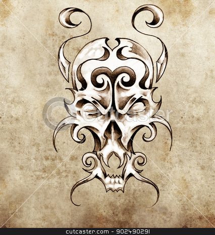 Sketch of tattoo art, monster mask with decorative elements stock photo, Sketch of tattoo art, monster mask with decorative elements by Fernando Cortes