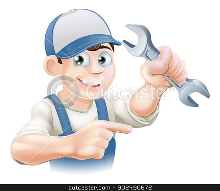 Plumber or mechanic pointing stock vector clipart, A plumber, mechanic or engineer in overalls pointing and holding a spanner or wrench  by Christos Georghiou