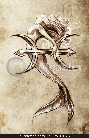 Tattoo art, sketch of a mermaid, pisces vintage style stock photo, Tattoo art, sketch of a mermaid, pisces vintage style by Fernando Cortes