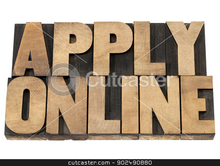 apply online in wood type stock photo, apply online - internet concept - isolated text in vintage letterpress wood type printing blocks by Marek Uliasz