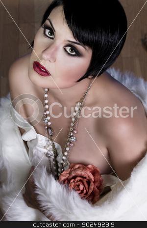 20s style beautiful brunette female wearing fur, exquisite stock photo, 20s style beautiful brunette female wearing fur, exquisite, showing bare shoulders, candor by Fernando Cortes