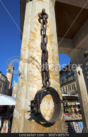 Ancient Measure Bundle of Firewood - Verona Italy stock photo, Piazza delle Erbe, detail of stone rostrum - Verona - Italy by catalby