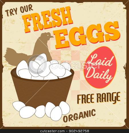 Fresh eggs vintage poster stock vector clipart, Fresh eggs vintage retro grunge poster, vector illustrator by radubalint