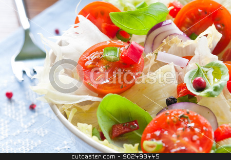 Fresh Salad stock photo, Fresh salad with cherry tomatoes, lettuce, red onion and herbs by Tiramisu Studio