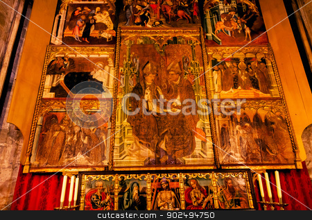 Painted Choir Stall Christ Bishops Mary Gothic Catholic Barcelon stock photo, Painted Choir Stall Christ Mary Bishops Disciples Gothic Catholic Barcelona Cathedral Basilica in Catalonia, Barcelona, Spain.  Cathedral built in 1298. by William Perry
