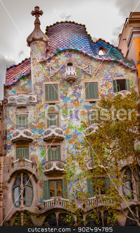 Casa Mila Antoni Gaudi House Museum Barcelona Catalonia Spain stock photo, Casa Mila Antoni Gaudi House Museum Barcelona Catalonia Spain.  Built between 1906-19104 by William Perry