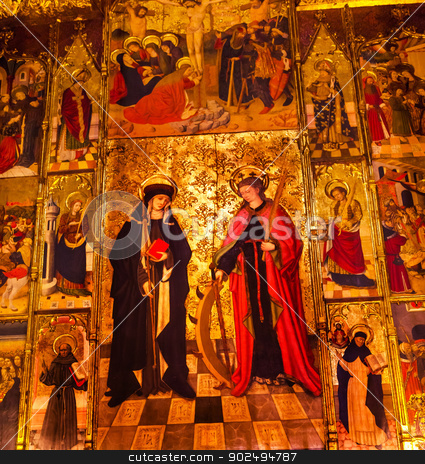 Mary Painted Choir Stall Catholic Basilica Barcelona Cathedral C stock photo, Painted Choir Stall Mary Catholic Basilica Barcelona Cathedral in Catalonia, Barcelona, Spain.  Cathedral built in 1298. by William Perry