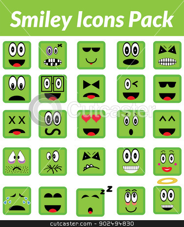 Smiley Icons Pack (Green) stock vector clipart, This is a simple, elegant and professional set of vectorized smile icons suitable for your web and mobile projects. They are a total of 25 differents expressions by Kabedi Carlos Fernando