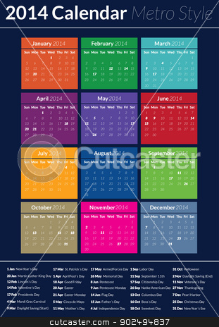 2014 Calendar - Metro Style stock vector clipart, This is a simple but creative and elegant vector calendar for the 2014 year. It is fully resizable and editable. by Kabedi Carlos Fernando