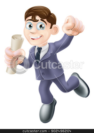 Businessman with scroll stock vector clipart, A happy man in business suit with certificate, qualification or other scroll jumping for with fist clenched. Education concept  career development , learning, training or passing a professional examination. by Christos Georghiou