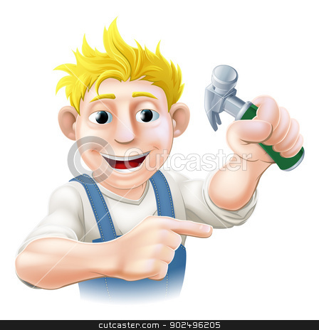 Construction guy pointing stock vector clipart, Illustration of a construction guy holding a hammer and pointing by Christos Georghiou