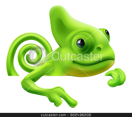 Cartoon chameleon pointing down stock vector clipart, An illustration of a cute cartoon chameleon pointing from above a sign or banner by Christos Georghiou
