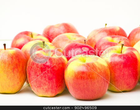 Red apples isolated on white background stock photo, Red apples by gururugu