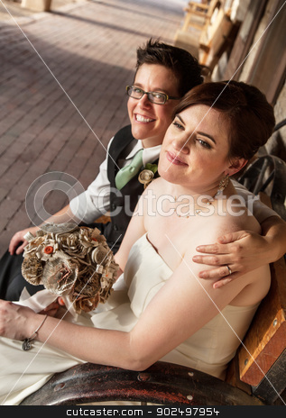 Gay Female Married Partners stock photo, Smiling gay female couple sitting on rustic bench by Scott Griessel