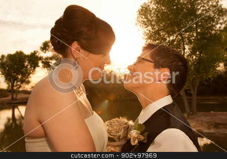 Lesbian Civil Union stock photo, Smiling pair of white lesbian women in marriage ceremony by Scott Griessel
