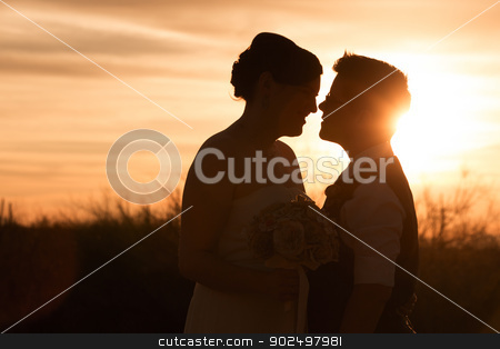 Lesbian Couple at Sunset stock photo, Beautiful same sex couple in civil union at sunset by Scott Griessel