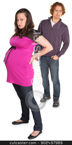 Angry Pregnant Lady with Man stock photo, Angry pregnant woman with suspicious man on white background by Scott Griessel
