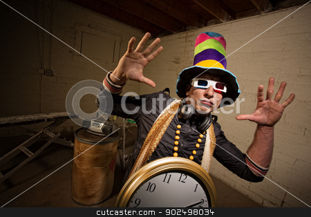 Rapper with 3D Glasses stock photo, Musician with large hat and 3D glasses indoors by Scott Griessel