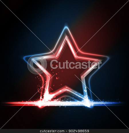 Red blue white glowing frame shaped as a star stock vector clipart, Star frame background with light effects on dark background in shades of red, white and blue. Great background for Independence day or any other patriotic theme in USA, GB, France, etc. by Ina Wendrock