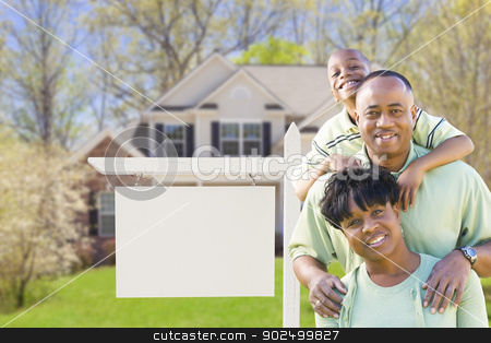 African American Family In Front of Blank Real Estate Sign and H stock photo, African American Family In Front of Blank Real Estate Sign and New House - Ready for Your Own Text. by Andy Dean