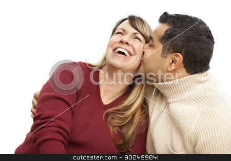 Attractive Mixed Race Couple Kissing on White stock photo, Attractive Mixed Race Couple Kissing Isolated on a White Background. by Andy Dean
