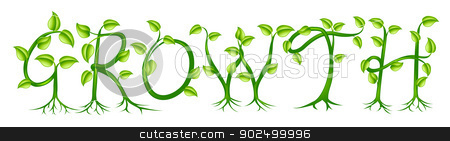 Growth plant typography concept stock vector clipart, Growth spelt out by trees or plants growing into the word by Christos Georghiou
