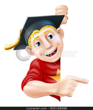 Graduate pointing stock vector clipart, Man in graduate mortar board hat or cap leaning round a sign or banner and pointing at it by Christos Georghiou