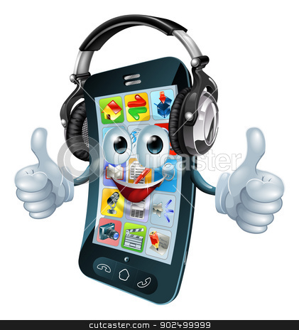 Music headphones phone stock vector clipart, A cell phone cartoon character with music headphones on giving the thumbs up. Could be a concept for a music app or similar. by Christos Georghiou