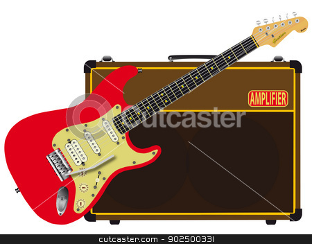 Electric Rock stock vector clipart, A solid body electric guitar with a valve amplifier isolated over a white background. by Kotto